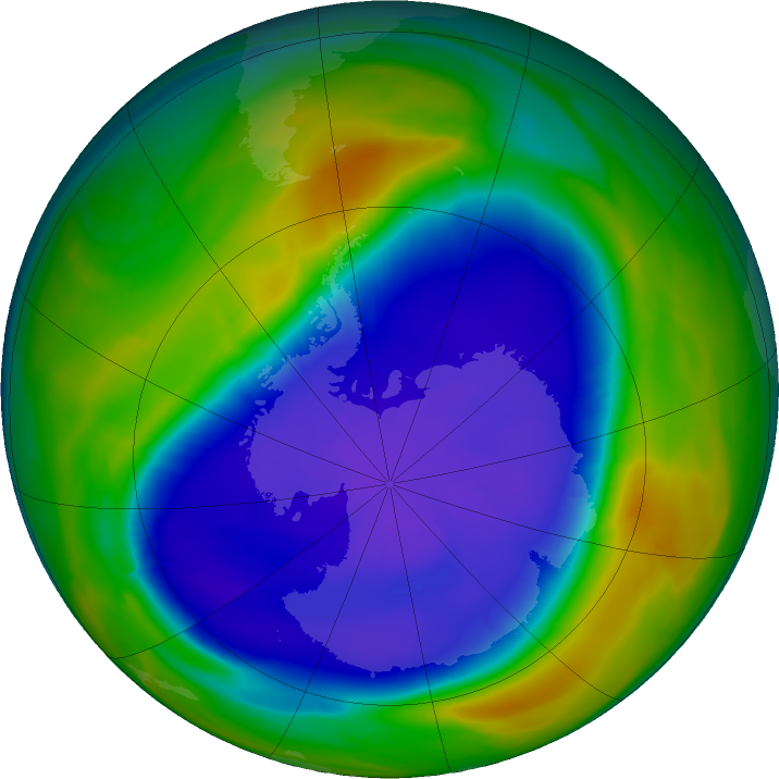 Antarctic ozone map for 18 September 2020