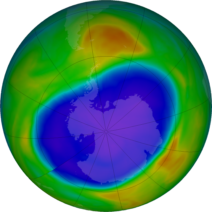 Antarctic ozone map for 19 September 2020