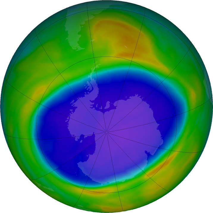 Antarctic ozone map for 20 September 2020