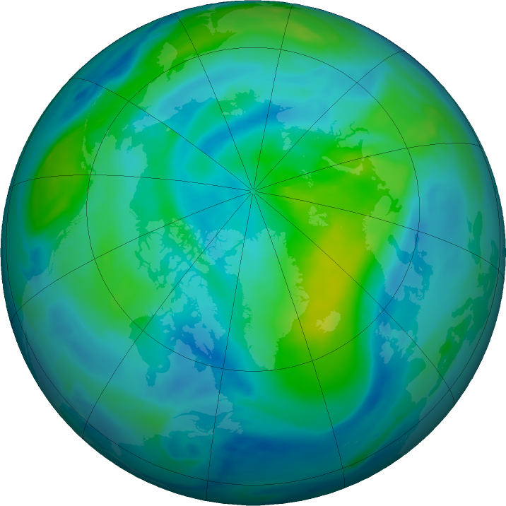 Arctic ozone map for 22 September 2020