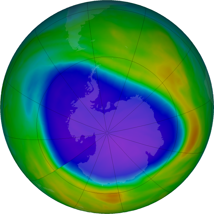 Antarctic ozone map for 23 September 2020