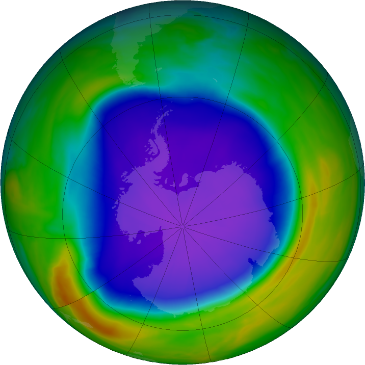 Antarctic ozone map for 28 September 2020