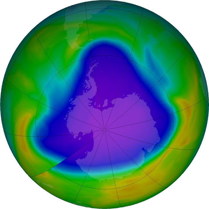Antarctic ozone map for 30 September 2020