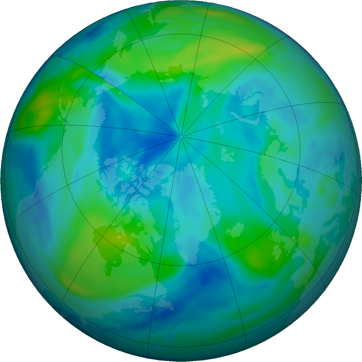 Arctic ozone map for 01 October 2020