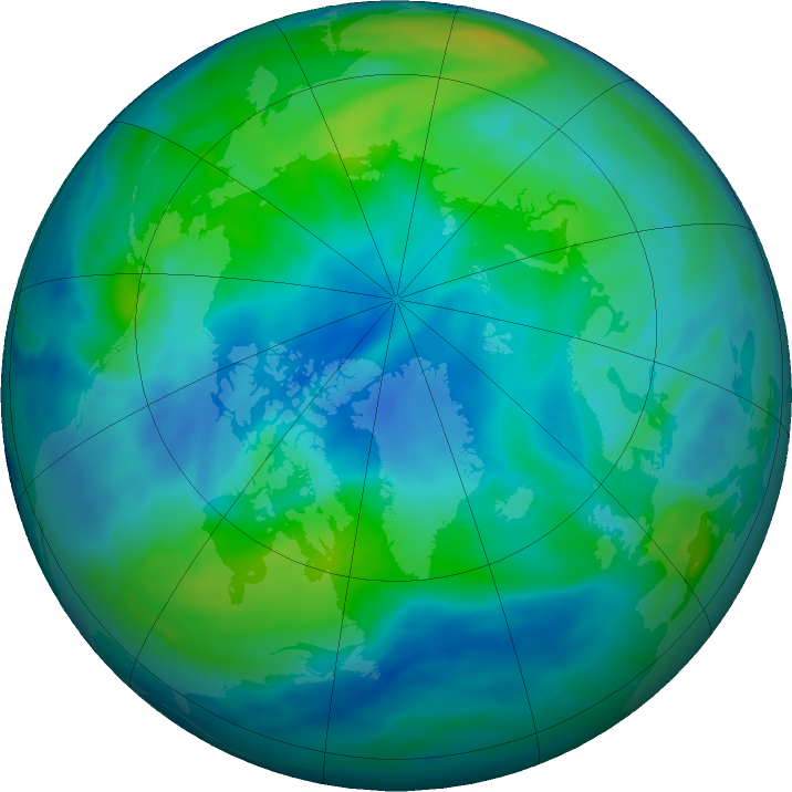 Arctic ozone map for 03 October 2020