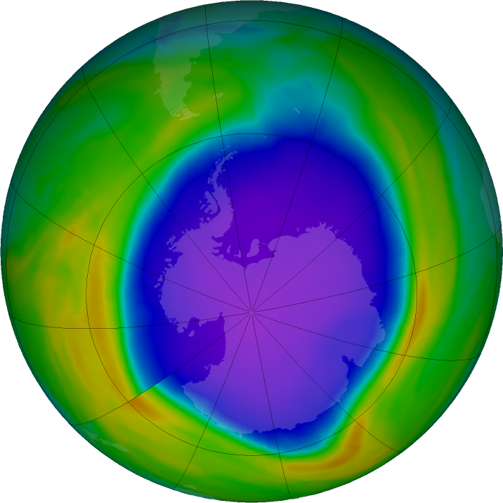 Antarctic ozone map for 06 October 2020