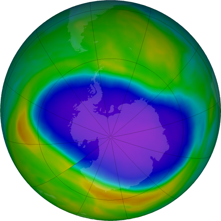 Antarctic ozone map for 10 October 2020