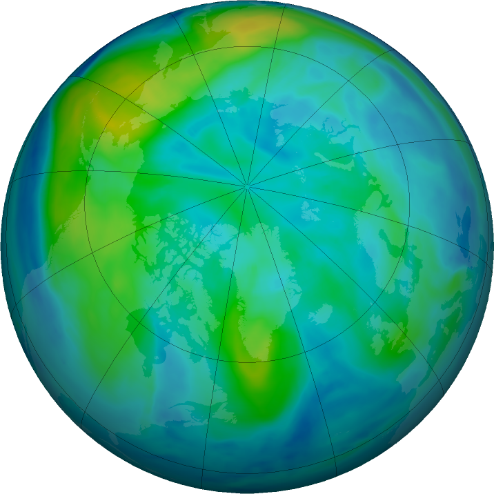 Arctic ozone map for 13 October 2020