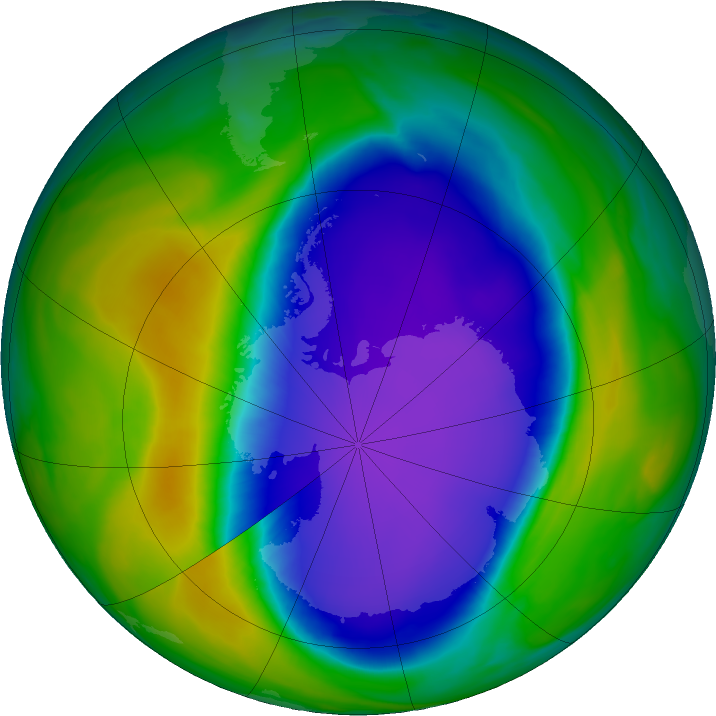 Antarctic ozone map for 14 October 2020