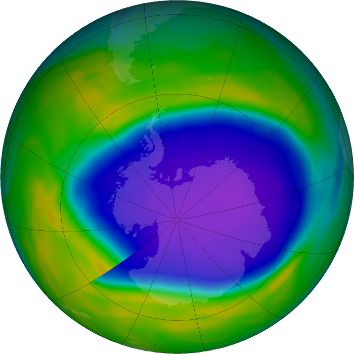 Antarctic ozone map for 17 October 2020