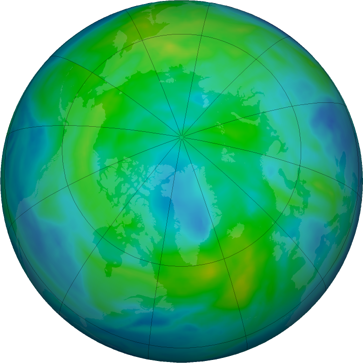 Arctic ozone map for 30 October 2020