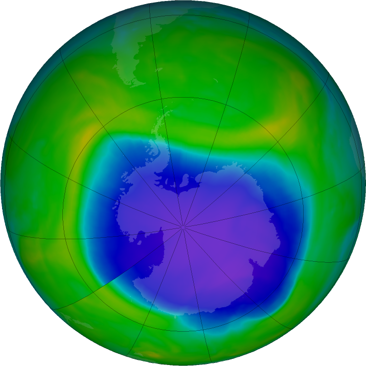 Antarctic ozone map for 12 November 2020