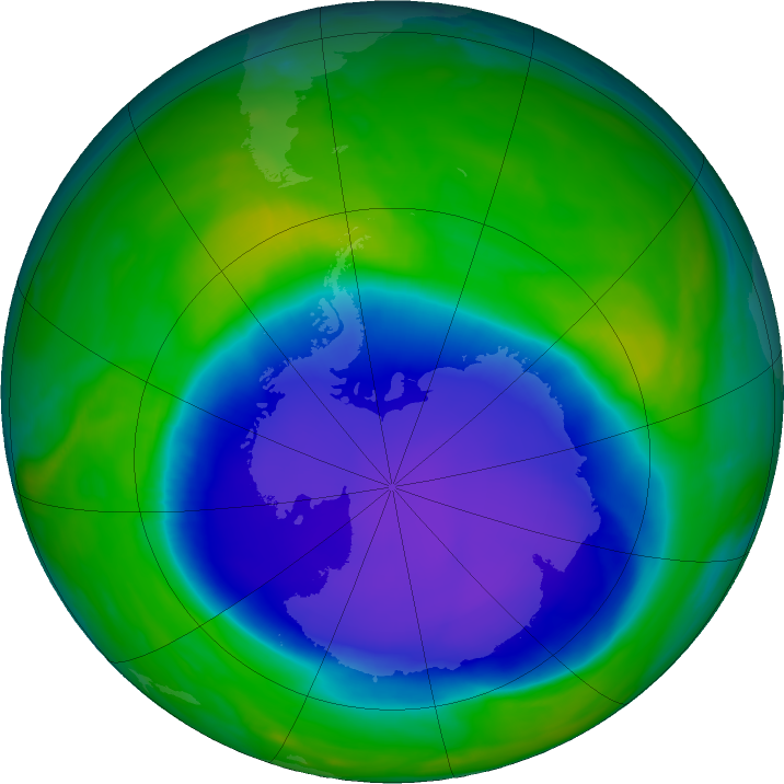 Antarctic ozone map for 13 November 2020