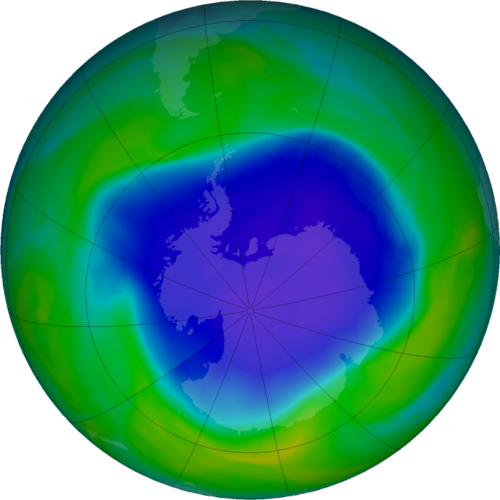 Antarctic ozone map for 26 November 2020