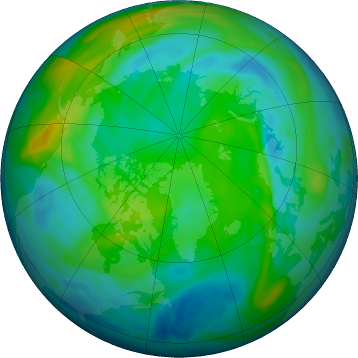 Arctic ozone map for 29 November 2020