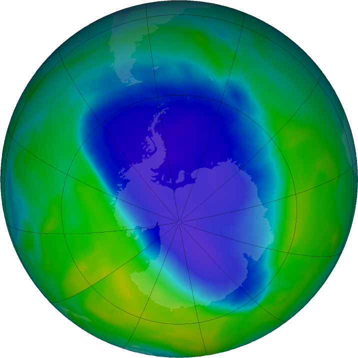 Antarctic ozone map for 30 November 2020