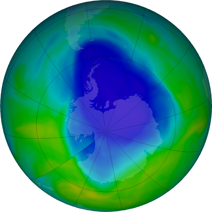 Antarctic ozone map for 02 December 2020