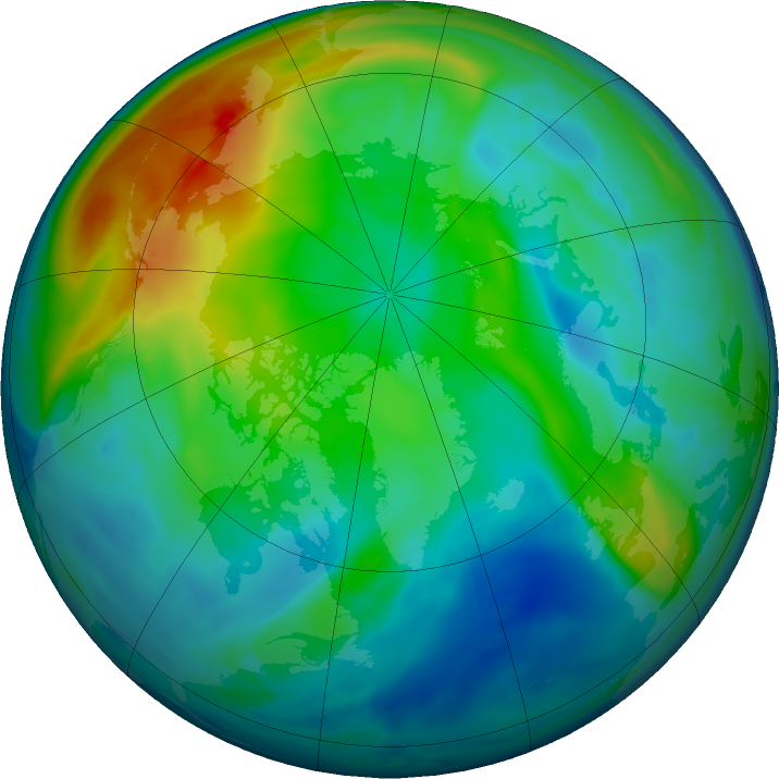 Arctic ozone map for 05 December 2020
