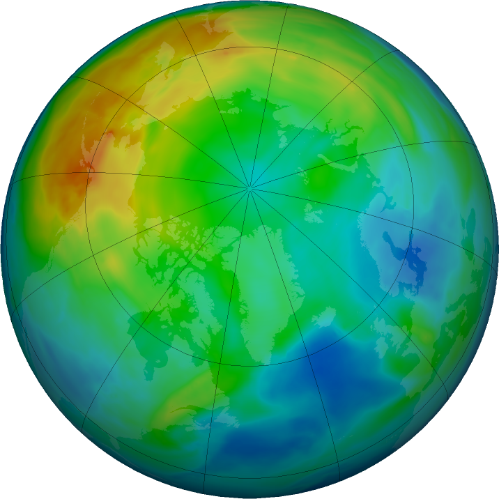 Arctic ozone map for 08 December 2020