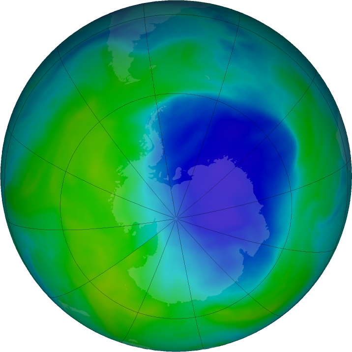 Antarctic ozone map for 10 December 2020