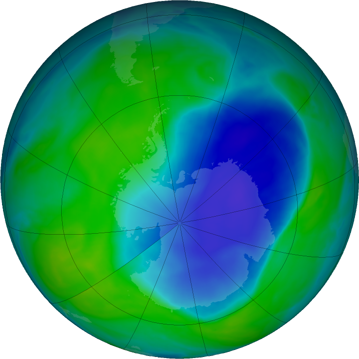 Antarctic ozone map for 12 December 2020