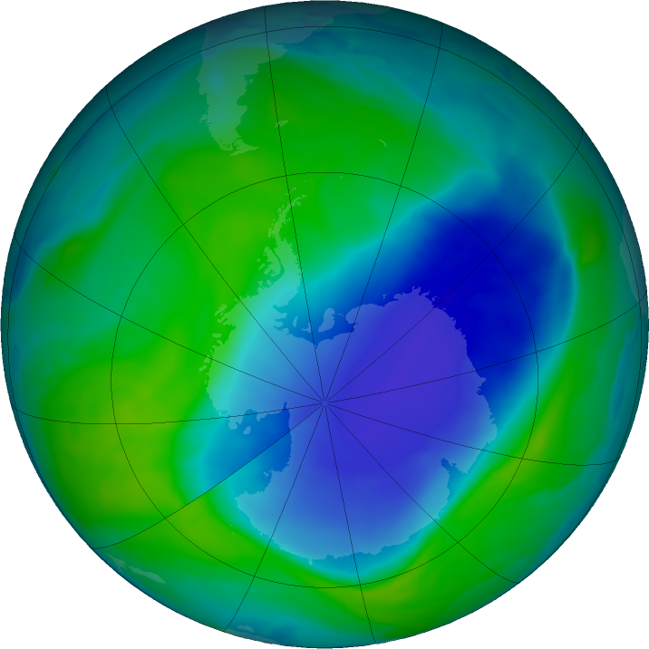 Antarctic ozone map for 13 December 2020