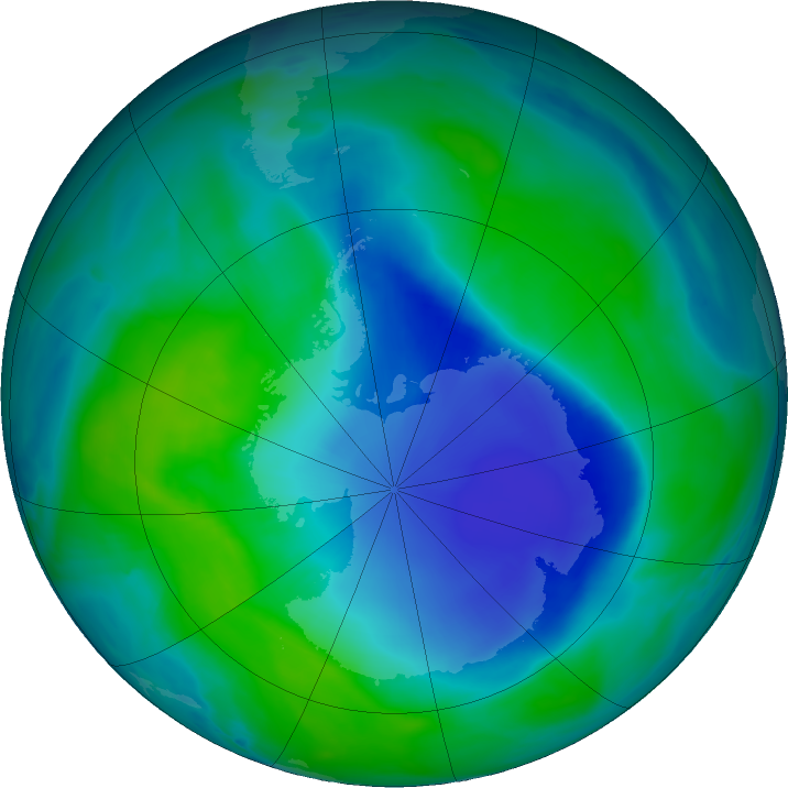 Antarctic ozone map for 18 December 2020