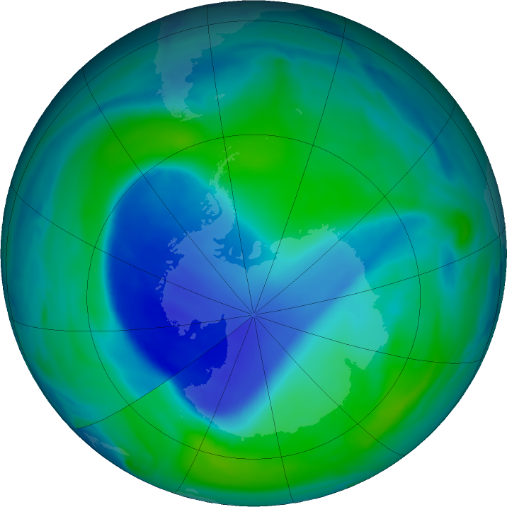 Antarctic ozone map for 23 December 2020
