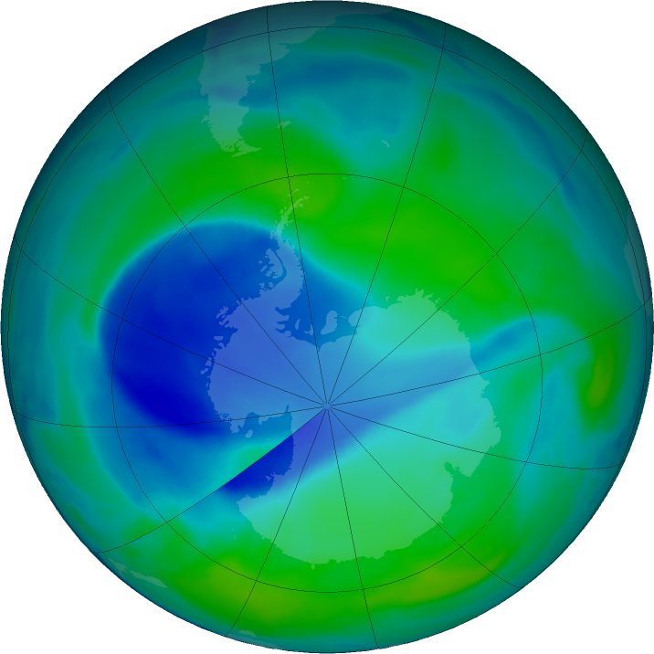 Antarctic ozone map for 24 December 2020