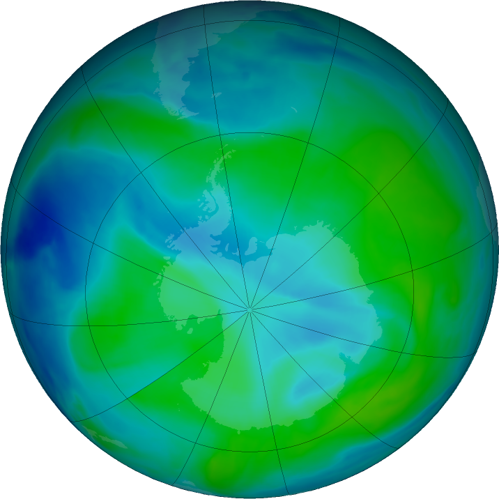 Antarctic ozone map for 27 December 2020
