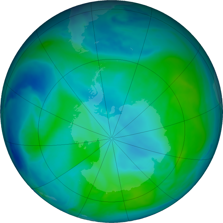 Antarctic ozone map for 28 December 2020