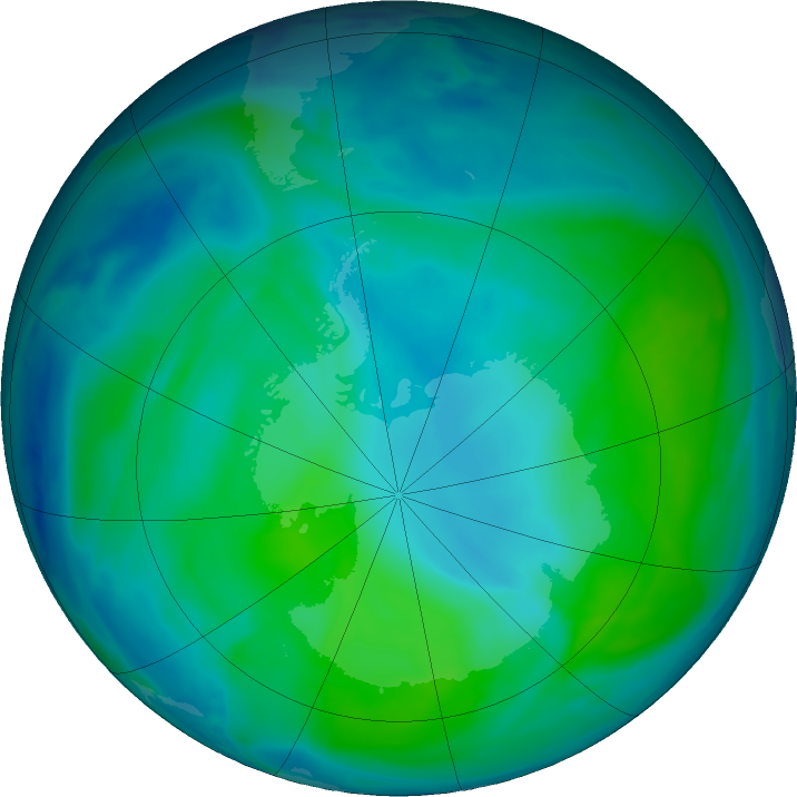 Antarctic ozone map for 29 December 2020