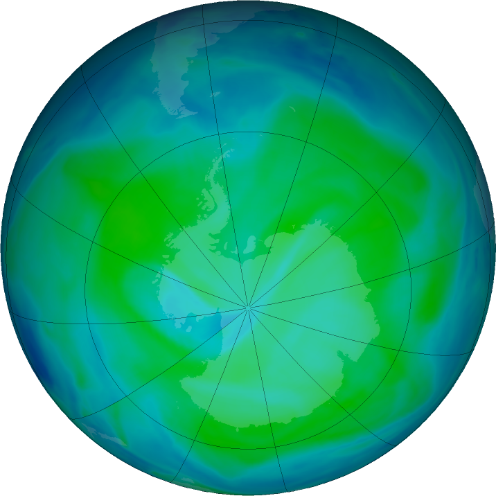 Antarctic ozone map for 05 January 2021