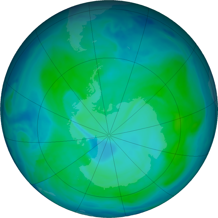 Antarctic ozone map for 08 January 2021