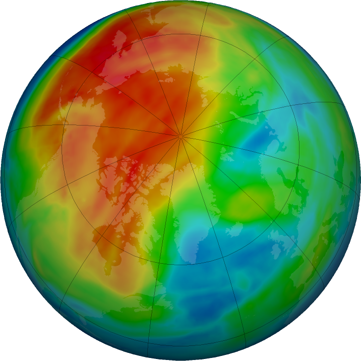 Arctic ozone map for 10 January 2021