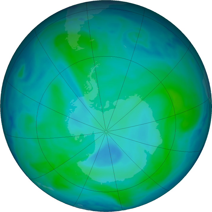 Antarctic ozone map for 10 January 2021