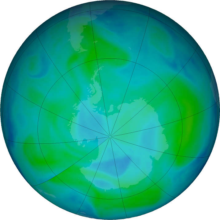Antarctic ozone map for 11 January 2021