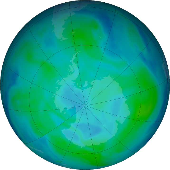 Antarctic ozone map for 12 January 2021
