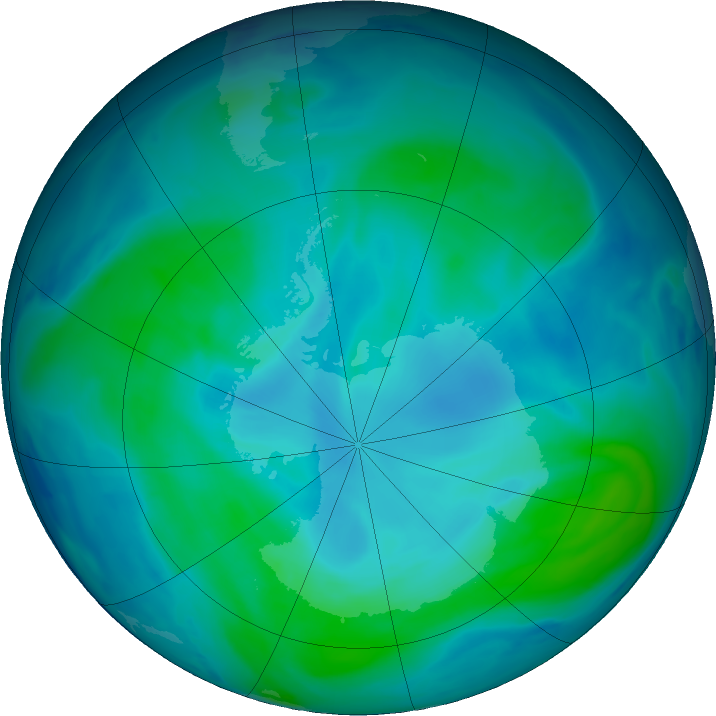 Antarctic ozone map for 15 January 2021