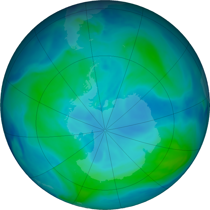 Antarctic ozone map for 16 January 2021