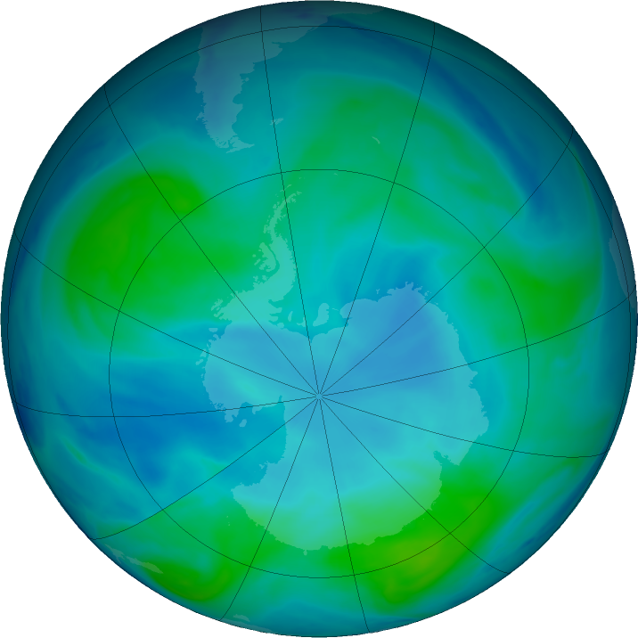Antarctic ozone map for 19 January 2021
