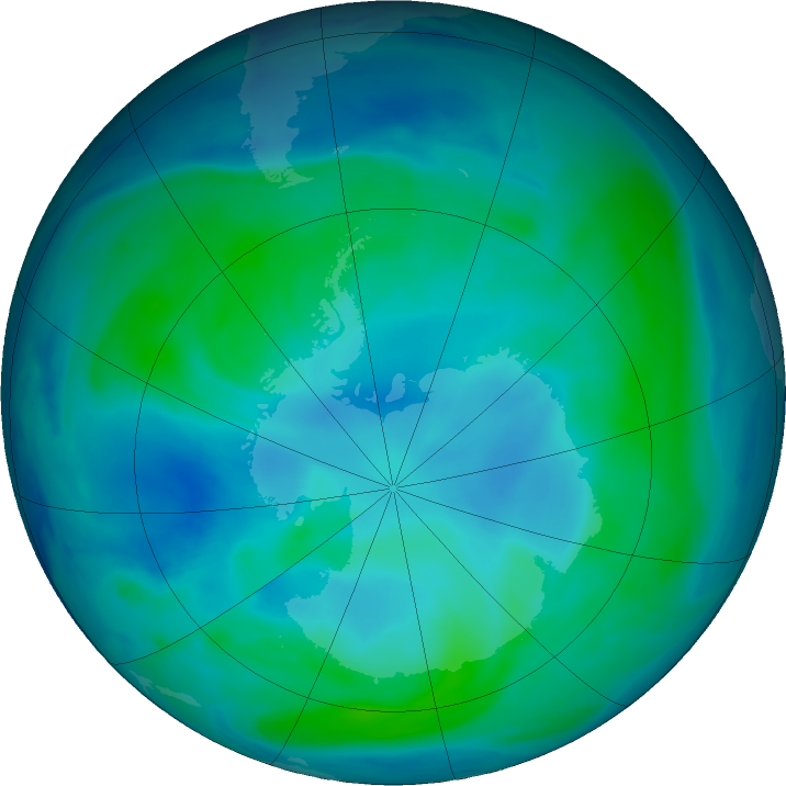 Antarctic ozone map for 22 January 2021