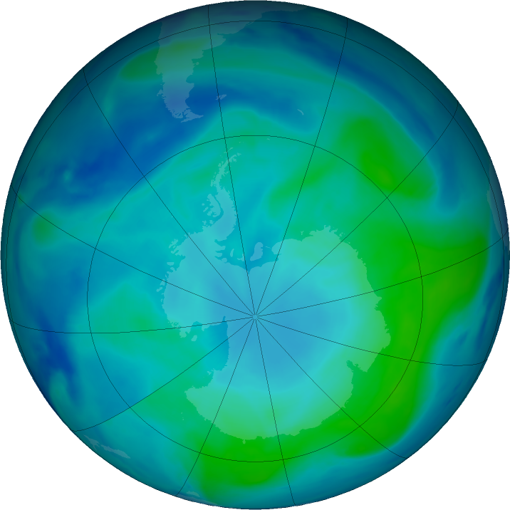 Antarctic ozone map for 01 February 2021