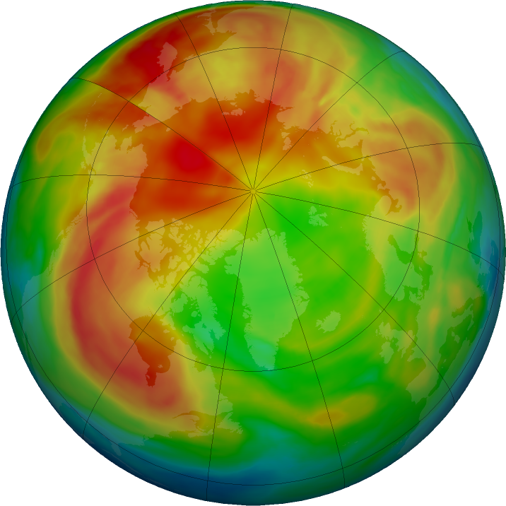 Arctic ozone map for 08 February 2021
