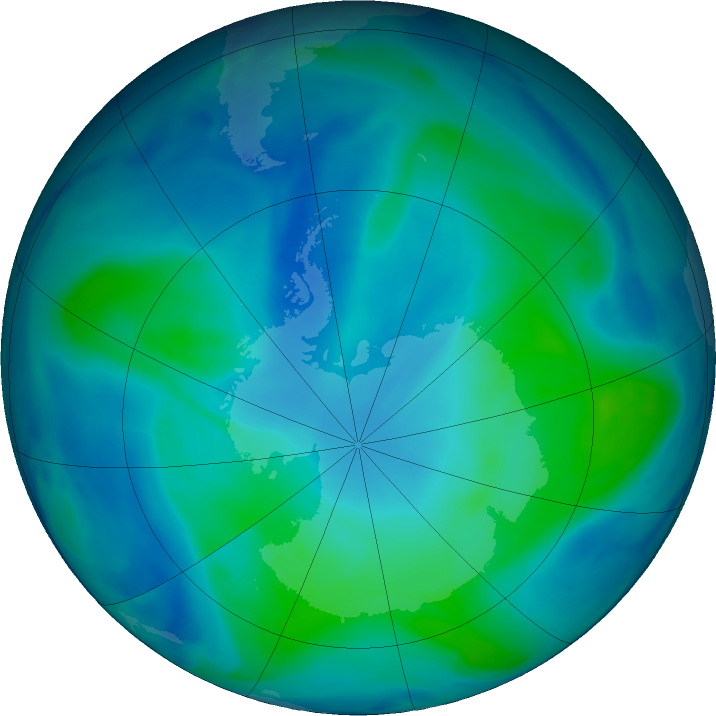 Antarctic ozone map for 08 February 2021