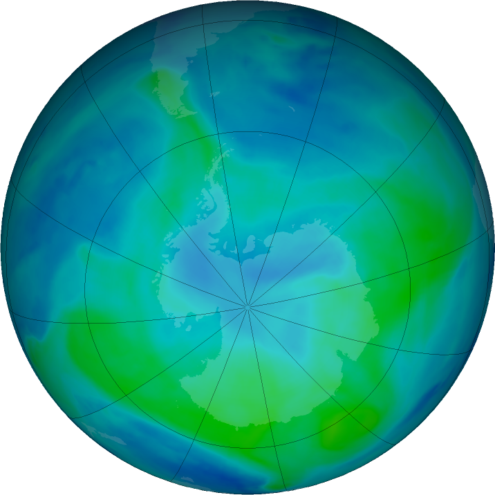 Antarctic ozone map for 18 February 2021