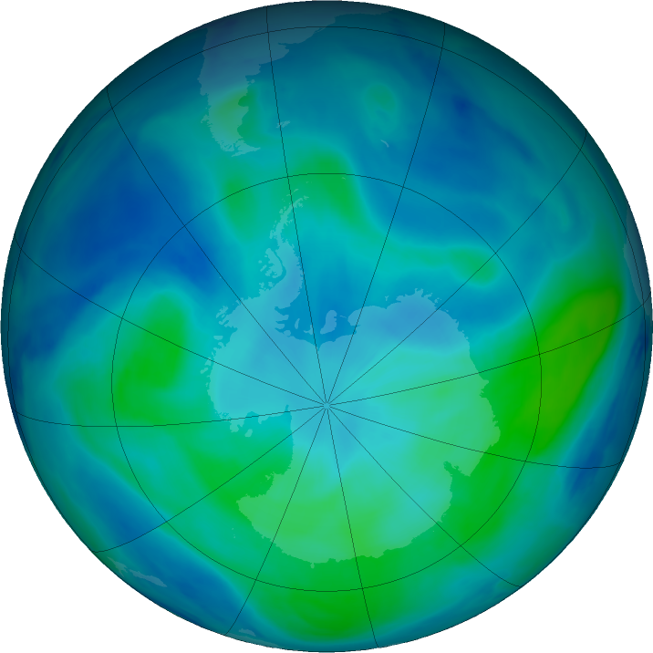 Antarctic ozone map for 21 February 2021
