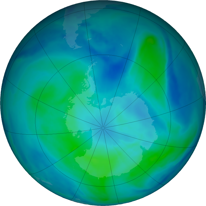 Antarctic ozone map for 28 February 2021