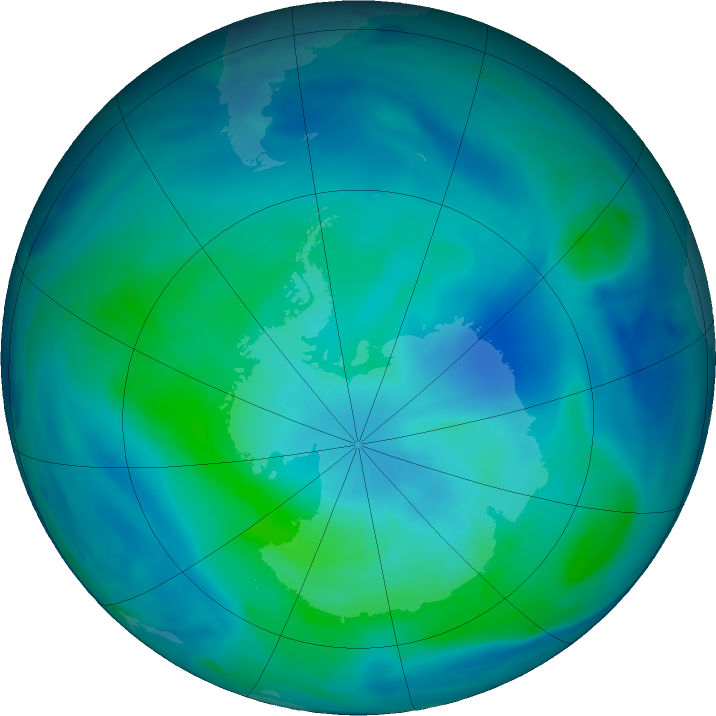 Antarctic ozone map for 02 March 2021