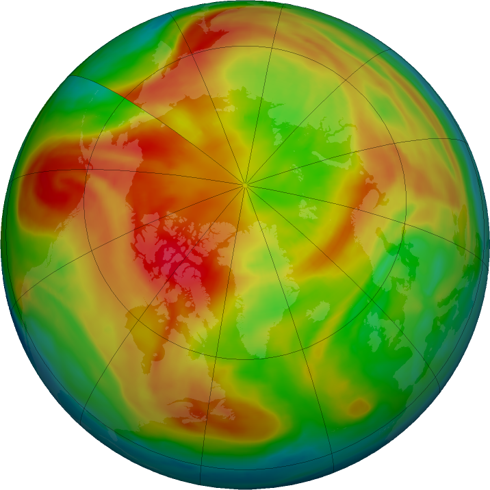 Arctic ozone map for 03 March 2021